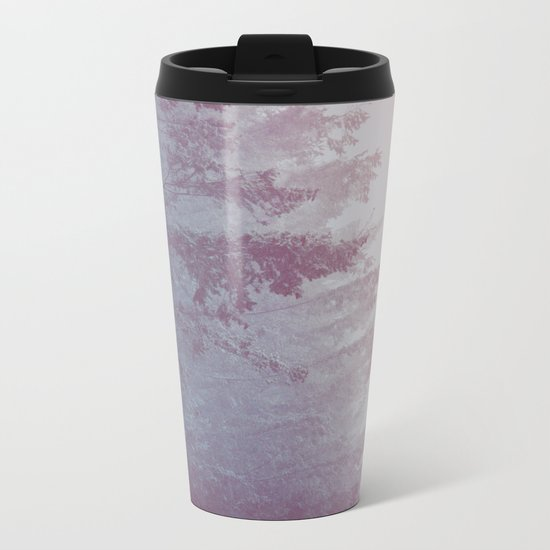 Forest Fog - Snowy Mountain Trees at Sunset Metal Travel Mug