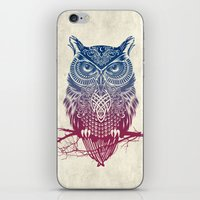 warrior iPhone & iPod Skins featuring Evening Warrior Owl by Rachel Caldwell