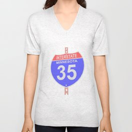 Interstate highway 35 road sign in Minnesota Unisex V-Neck