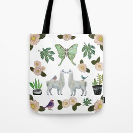 Llama and Luna Moth Tote Bag