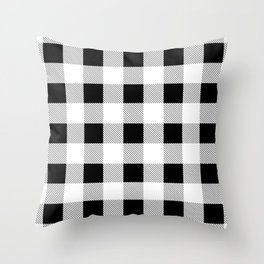western country french farmhouse black and white plaid tartan gingham print Throw Pillow