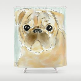 Pug face brown Shower Curtain
