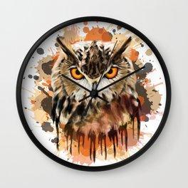Stylized owl portrait Wall Clock