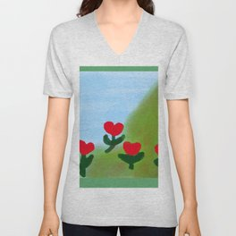 Hearts from a Rose Red and Green Unisex V-Neck