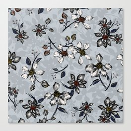 Botanical Pattern on Grey Background Canvas Print