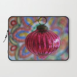 Pink Christmas Ball With Colorful Vintage Embroidery Background Laptop Sleeve