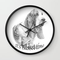 the hound Wall Clocks featuring Basset hound by Doggyshop
