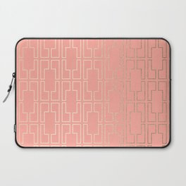 Simply Mid-Century in White Gold Sands on Salmon Pink Laptop Sleeve