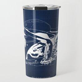 Motorcycle blueprint, 2012 Suzuki GSX-R1000, gift for men, valentine, plano de motocicleta Travel Mug