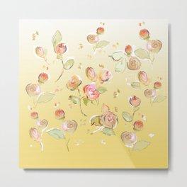 yellow tea rose buds Metal Print