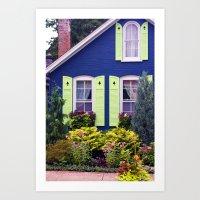 Blue Cottage Art Print