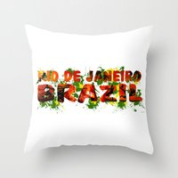rio de janeiro Throw Pillows featuring Rio de Janeiro by J. Ekstrom