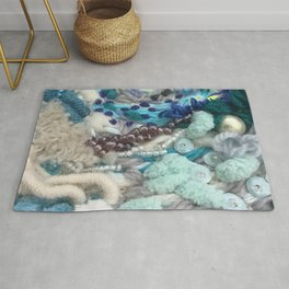 Embroidery original artwork Orbrey blue grey detail from Sizewell contemporary art  Rug