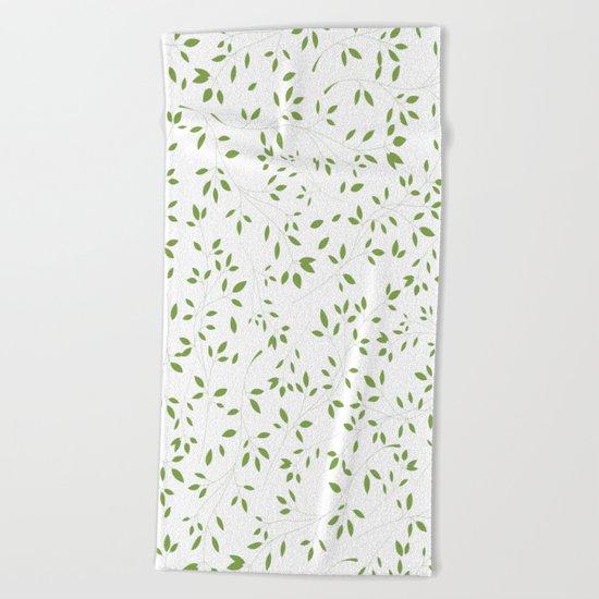 Leaves Pattern in Green & White Beach Towel