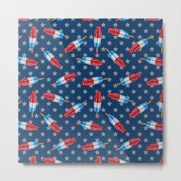 Patriotic Rocket Pop Pattern Metal Print