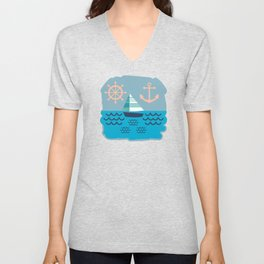 Blue Sailboat Pattern Unisex V-Neck
