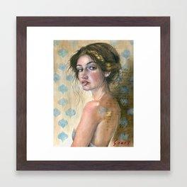 Grey Dress Framed Art Print