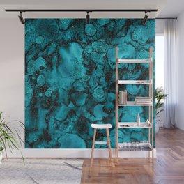 Blue Gemstone and Ink Malachite Glitter Marble Wall Mural