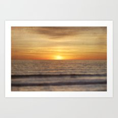California Sunset Over Ocean Art Print