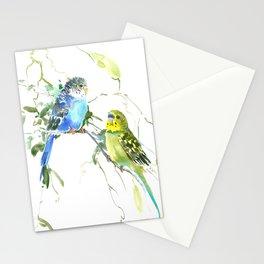 Parakeets, budgies pet bird home decor Stationery Cards