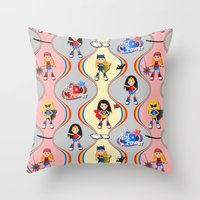 girl power Throw Pillows featuring Girl Power by Vannina