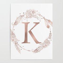 Letter K Rose Gold Pink Initial Monogram Poster