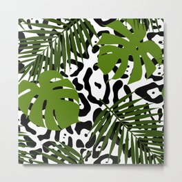 Leopard and palm leaves seamless pattern. Metal Print