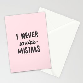 I Never Make Mistaks - Typography Pink Stationery Cards