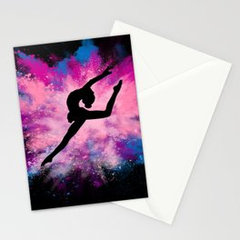 gymnast dancer colour splash Stationery Cards