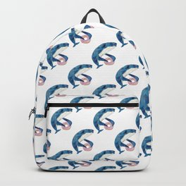 Humpback whale with dohnut watercolor Backpack