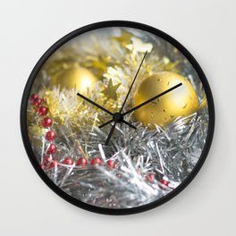 Christmas decorations in silver, gold and red Wall Clock