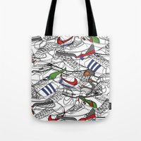 sneakers Tote Bags featuring Sneakers by Adikt