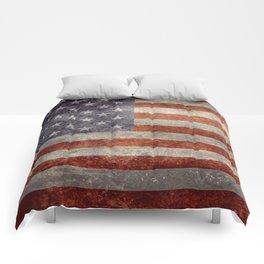 USA flag - Retro vintage Banner Comforters