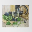 Glasses of Wine plus Grapes and Barrel by eclectickitchen