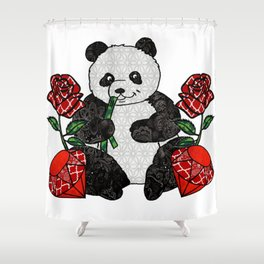 Panda with red rubies and red roses Shower Curtain