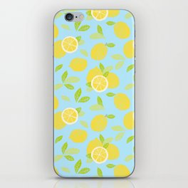 Bright And Sunny And Stamped Lemon Citrus Pattern iPhone Skin