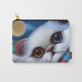 WHITE PERSIAN CAT with ODD EYES AT THE BEACH Carry-All Pouch