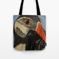 puffin Tote Bags featuring Puffin  by EmilyGrantDesign