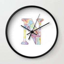 Letter N - Watercolor Monogram - Colorful Lettering - Watercolor Letter Print - Watercolor Initial Wall Clock