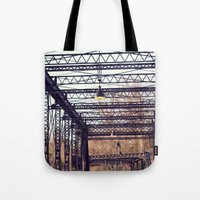 bridge Tote Bags featuring Bridge by myhideaway