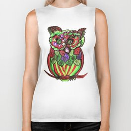 funny owl Biker Tank