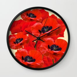 RED ORIENTAL POPPIES ON CREAM COLOR Wall Clock