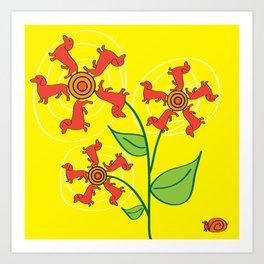 Doxie Flower Art Print