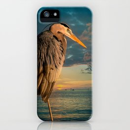 Great Blue Heron and Blue Sunset iPhone Case