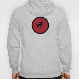 Bull Moose Silhouette - Black on Red Hoody