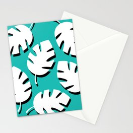 Black & White Fronds On Turquoise Stationery Cards