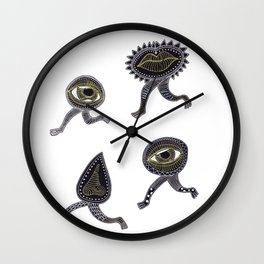 running surreal eyes mouth and nose creatures Wall Clock