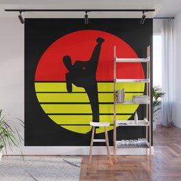 Karate kick retro sport design Wall Mural