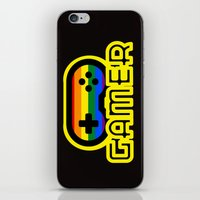 gamer iPhone & iPod Skins featuring Rainbow Gamer by UMe Images