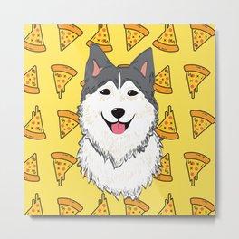 Aegis the Siberian Husky and Pizza Metal Print